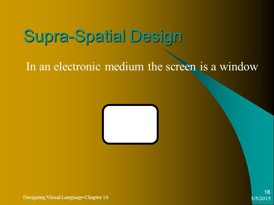5/5/2015 Designing Visual Language-Chapter 10 16 Supra-Spatial Design In an electronic medium the screen is a window