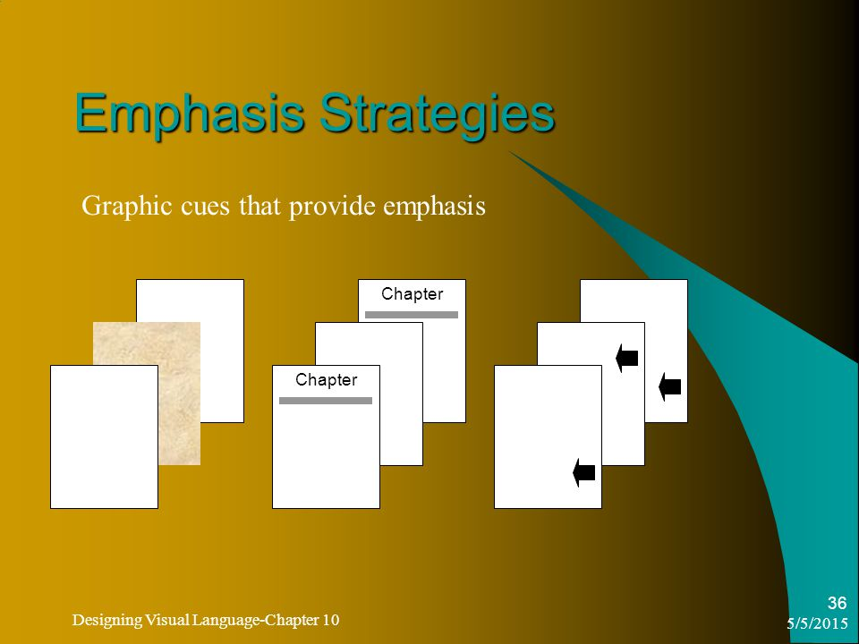 5/5/2015 Designing Visual Language-Chapter 10 36 Emphasis Strategies Graphic cues that provide emphasis Chapter