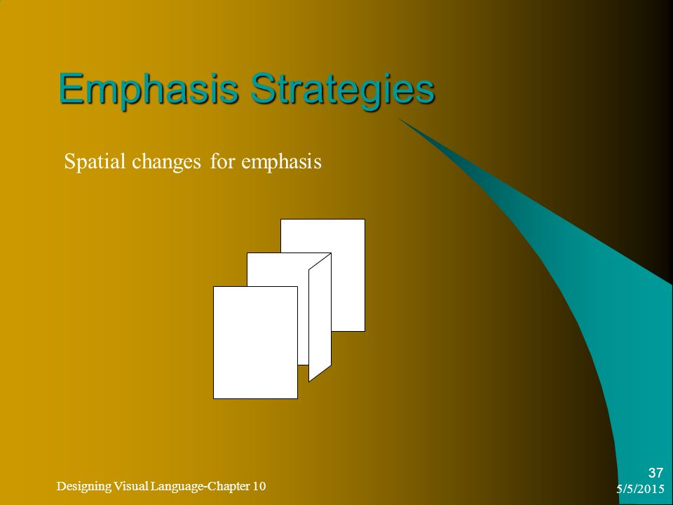 5/5/2015 Designing Visual Language-Chapter 10 37 Emphasis Strategies Spatial changes for emphasis