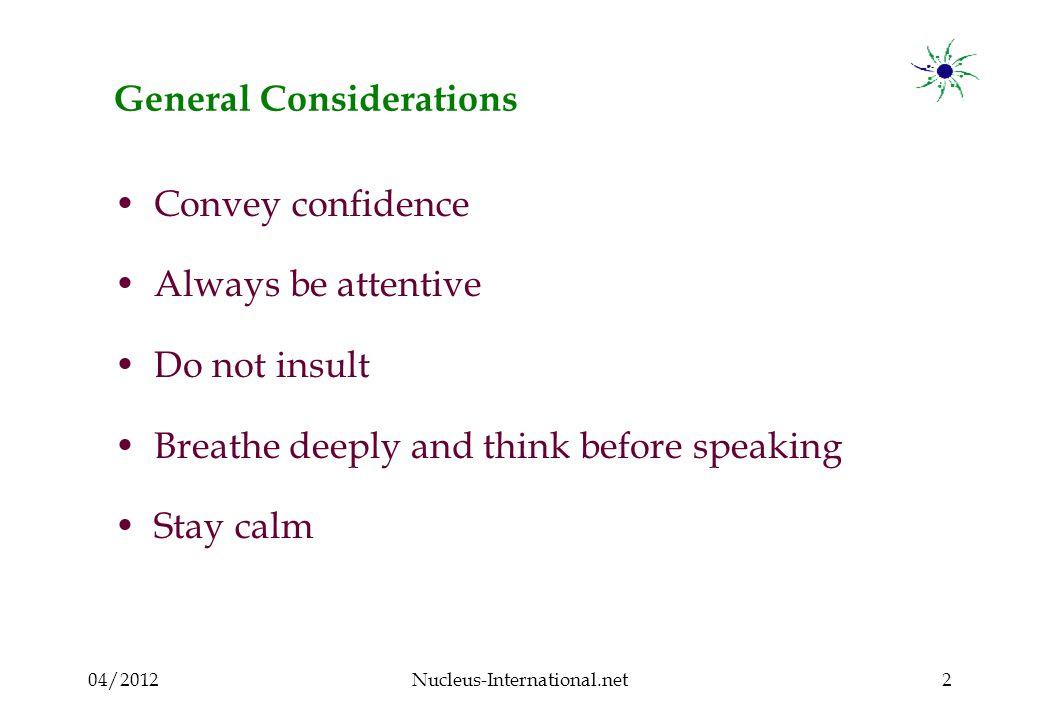 04/2012Nucleus-International.net13 Aggressive participant : What to do .