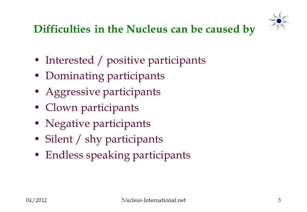 04/2012Nucleus-International.net4 Interested / positive participant Absorbs Contributes Is open to new ideas