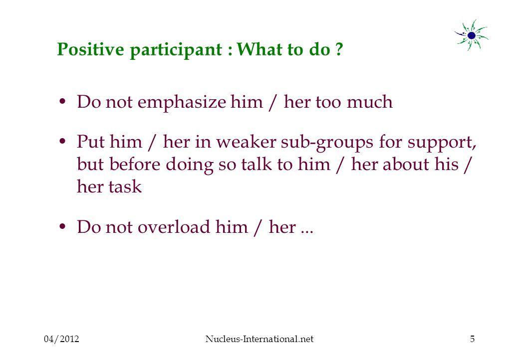 04/2012Nucleus-International.net16 Clown participant : What to do .