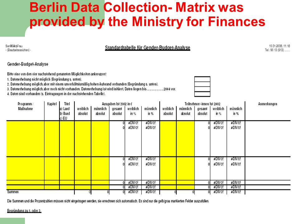 15 Berlin Data Collection- Matrix was provided by the Ministry for Finances