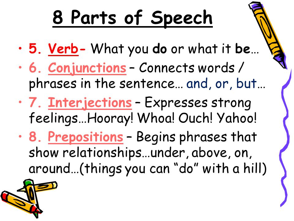 8 Parts of Speech 5. Verb- What you do or what it be… 6.