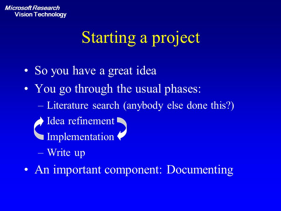 Microsoft Research Vision Technology Starting a project So you have a great idea You go through the usual phases: –Literature search (anybody else don