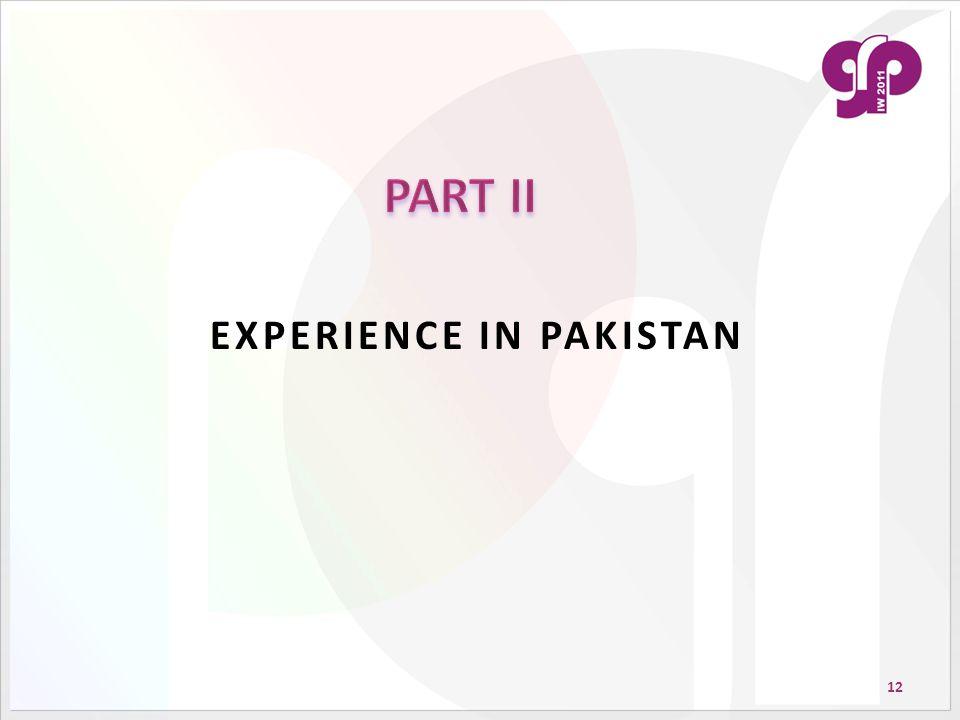 12 EXPERIENCE IN PAKISTAN