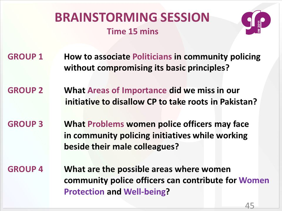 45 GROUP 1How to associate Politicians in community policing without compromising its basic principles? GROUP 2What Areas of Importance did we miss in
