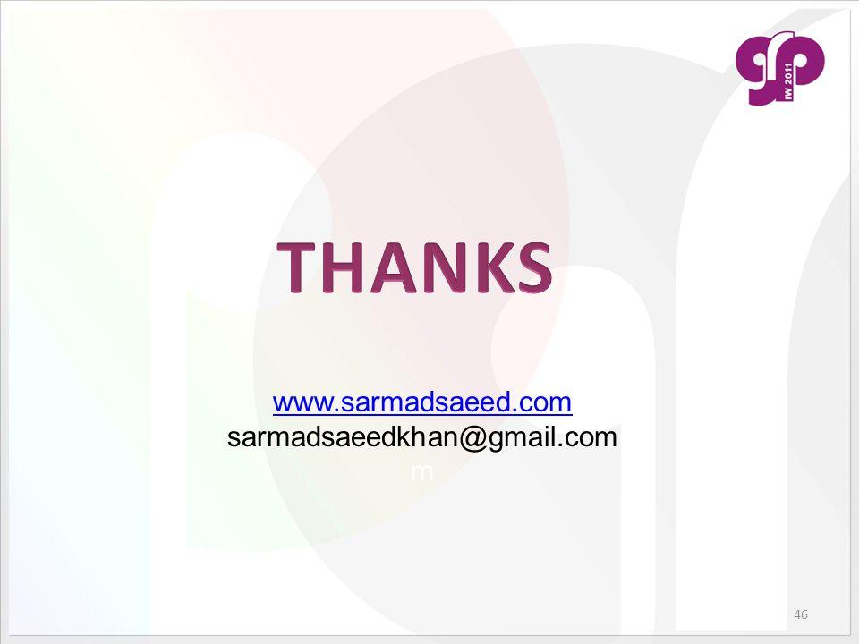 46 www.sarmadsaeed.com sarmadsaeedkhan@gmail.com m
