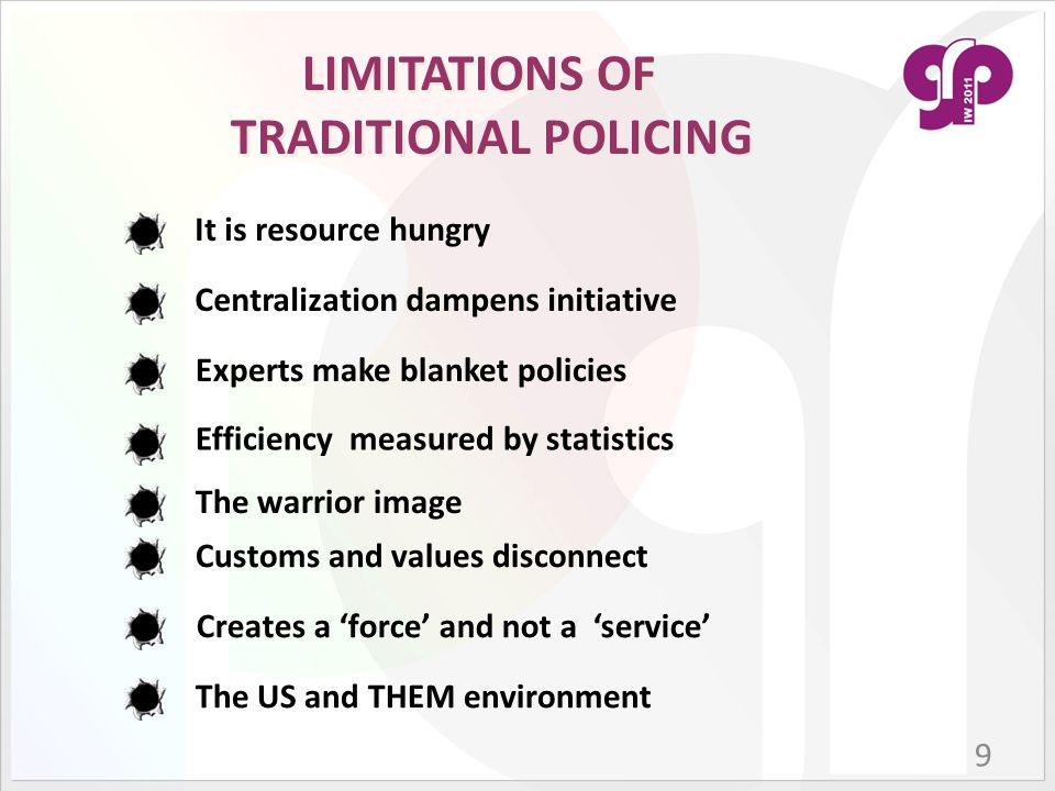  Community policing is a philosophy  Police + Public + Government  Changing mindsets of public and police  Social work + law enforcement  Reverting back to good old traditions  Returning the responsibility back COMMUNITY POLICING 10