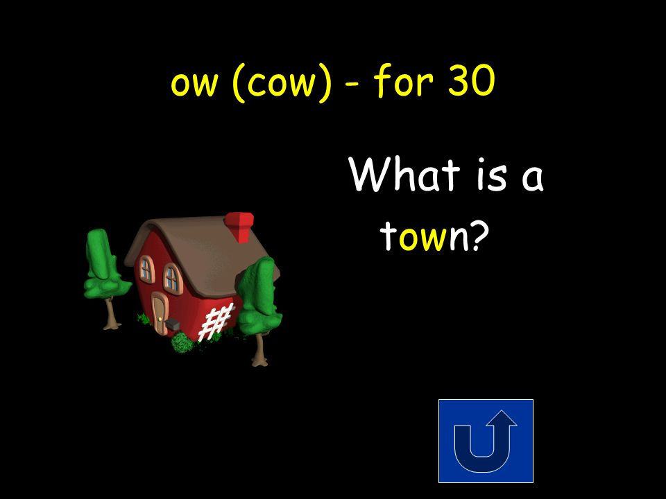 ow (cow) - for 30 A name for a small city. Remember to phrase youranswer in the form of a question!