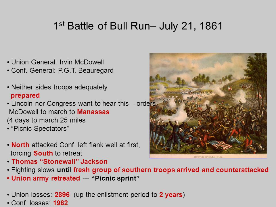 1 st Battle of Bull Run– July 21, 1861 Union General: Irvin McDowell Conf. General: P.G.T. Beauregard Neither sides troops adequately prepared Lincoln