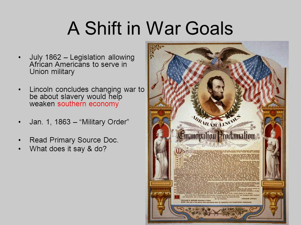 A Shift in War Goals July 1862 – Legislation allowing African Americans to serve in Union military Lincoln concludes changing war to be about slavery