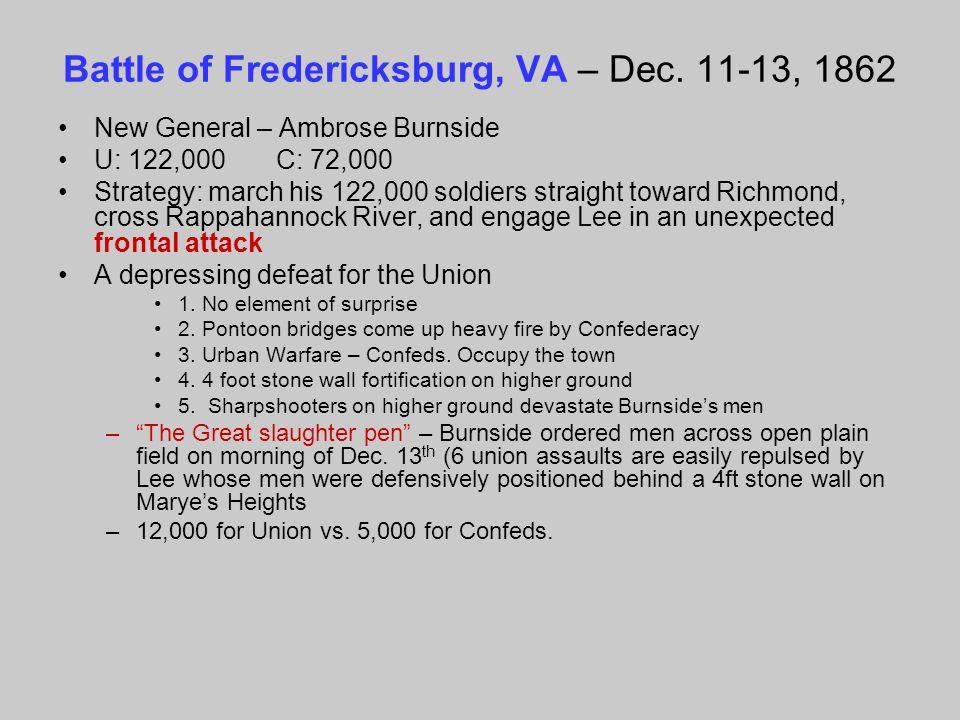 Battle of Fredericksburg, VA – Dec. 11-13, 1862 New General – Ambrose Burnside U: 122,000 C: 72,000 Strategy: march his 122,000 soldiers straight towa