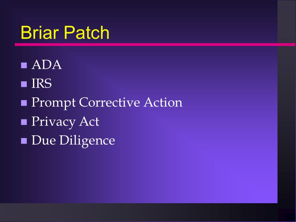 Briar Patch n ADA n IRS n Prompt Corrective Action n Privacy Act n Due Diligence
