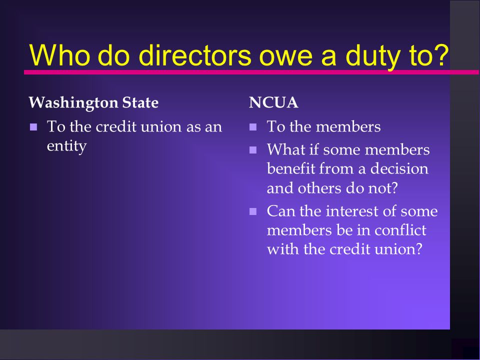 Who do directors owe a duty to.