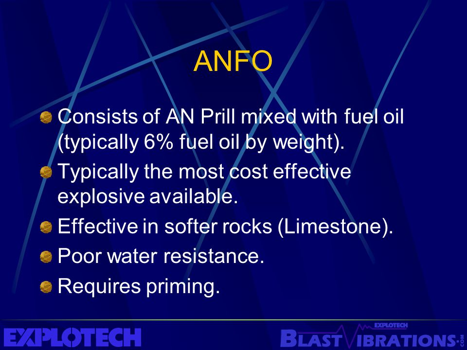 ANFO Consists of AN Prill mixed with fuel oil (typically 6% fuel oil by weight). Typically the most cost effective explosive available. Effective in s