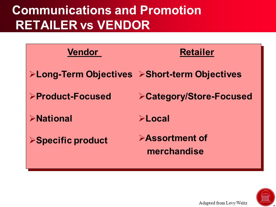 Vendor  Long-Term Objectives  Product-Focused  National  Specific product Retailer  Short-term Objectives  Category/Store-Focused  Local  Assortment of merchandise Communications and Promotion RETAILER vs VENDOR Adapted from Levy/Weitz