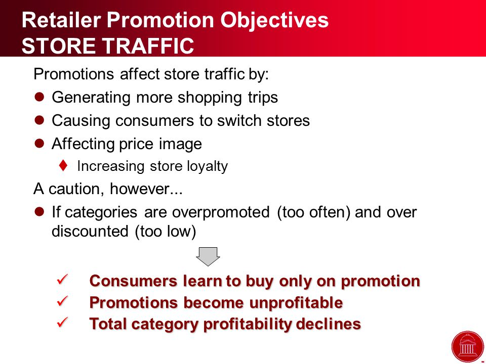 Retailer Promotion Objectives STORE TRAFFIC Promotions affect store traffic by: Generating more shopping trips Causing consumers to switch stores Affecting price image  Increasing store loyalty A caution, however...