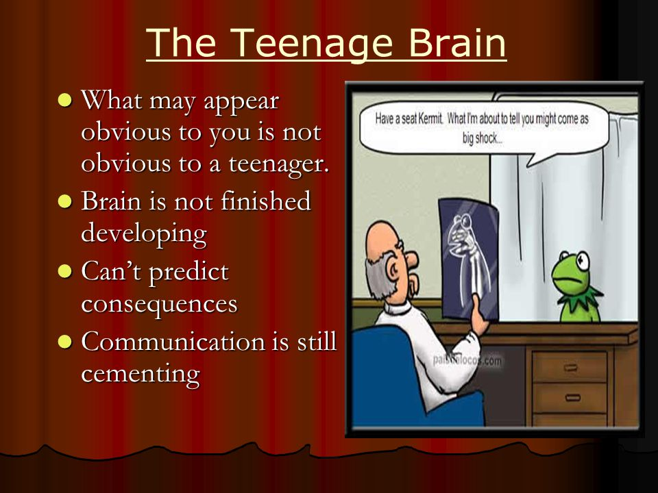 The Teenage Brain What may appear obvious to you is not obvious to a teenager.