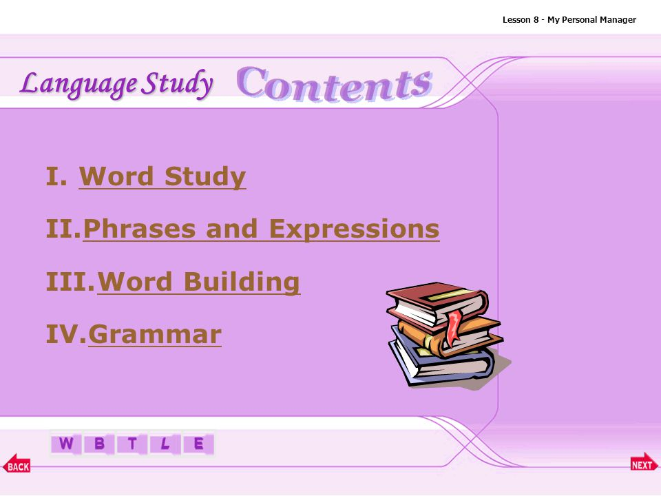 BTLEW Lesson 8 - My Personal Manager I.Word Study a.