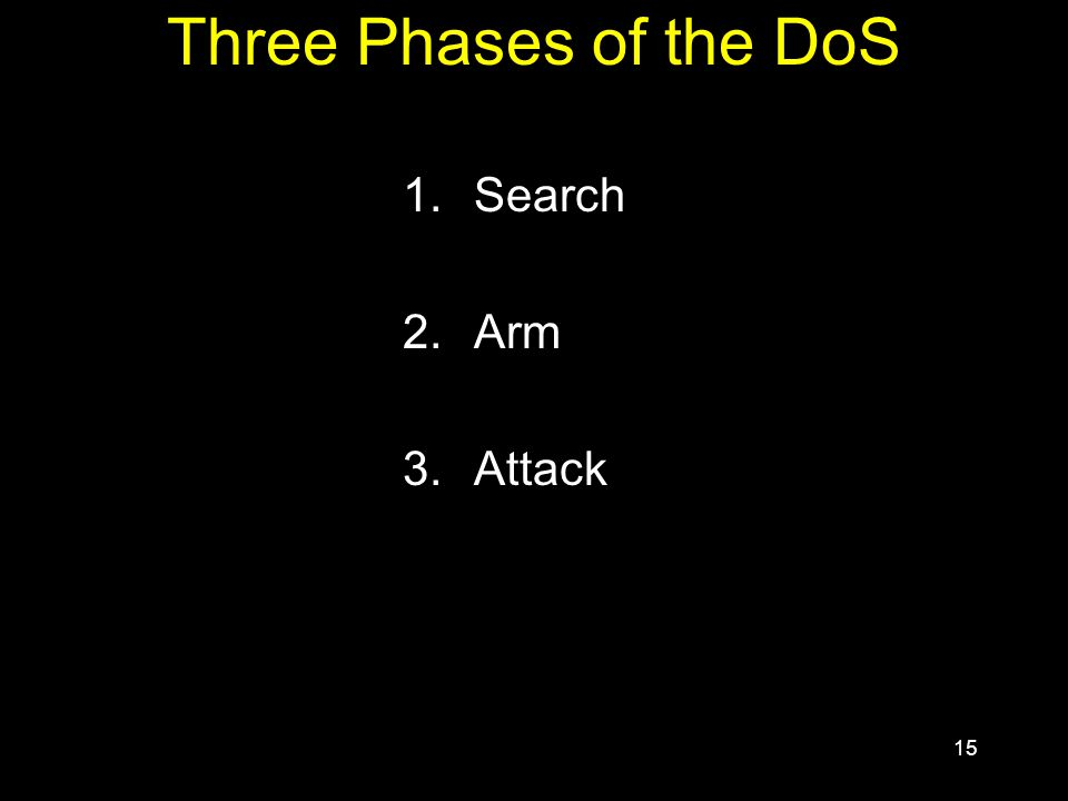 15 Three Phases of the DoS 1.Search 2.Arm 3.Attack