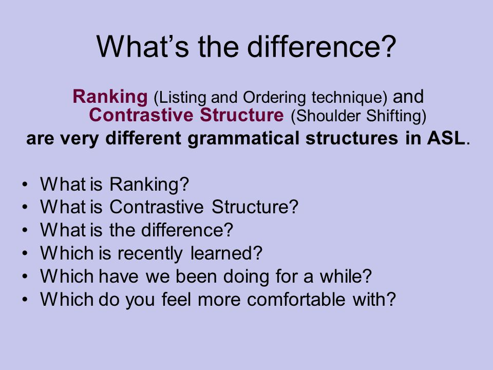 What's the difference? Ranking (Listing and Ordering technique) and Contrastive Structure (Shoulder Shifting) are very different grammatical structure