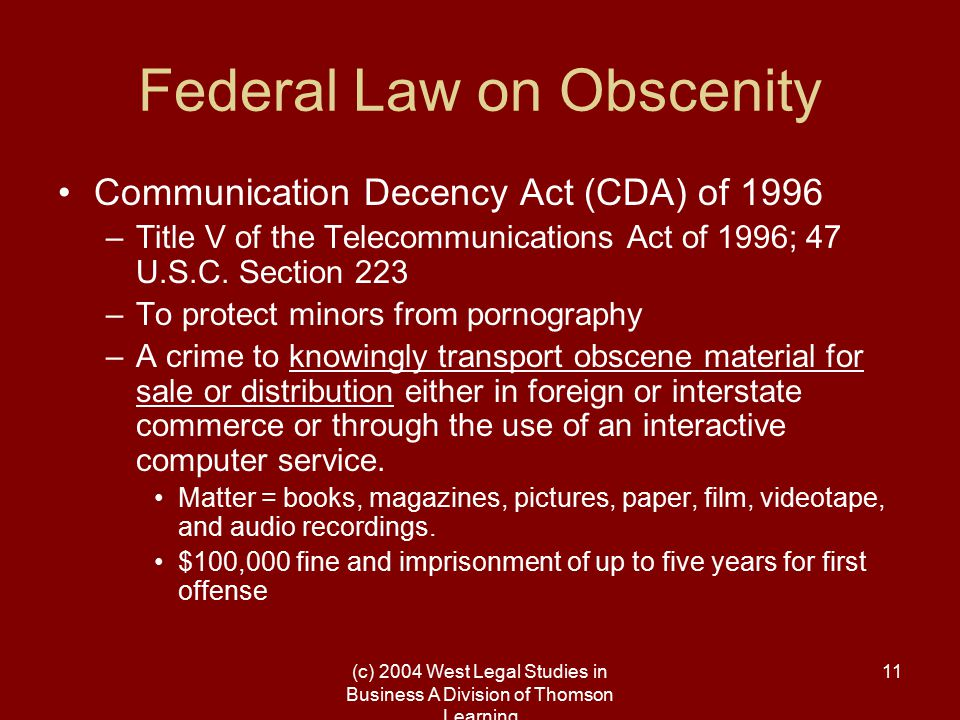 (c) 2004 West Legal Studies in Business A Division of Thomson Learning 11 Federal Law on Obscenity Communication Decency Act (CDA) of 1996 –Title V of