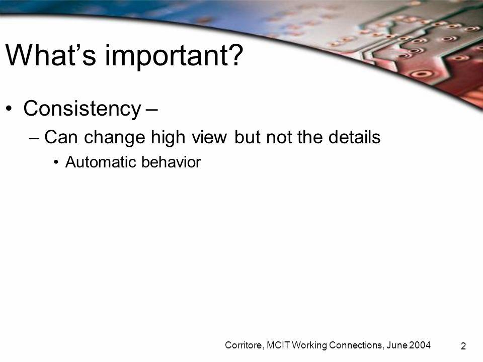 Corritore, MCIT Working Connections, June 2004 23 presentation density - must balance resolution vs.