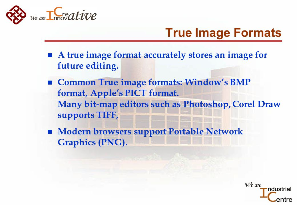 True Image Formats n A true image format accurately stores an image for future editing.