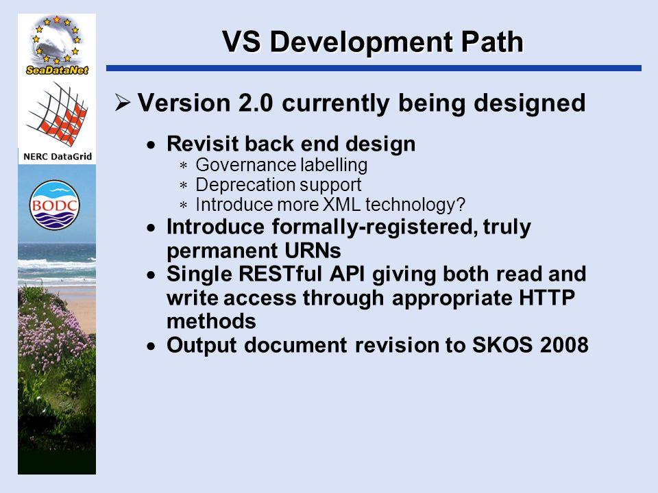 NERC DataGrid VS Development Path  Version 2.0 currently being designed  Revisit back end design  Governance labelling  Deprecation support  Intr