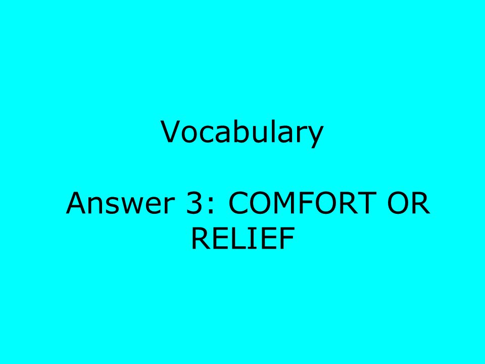 Vocabulary Answer 3: COMFORT OR RELIEF