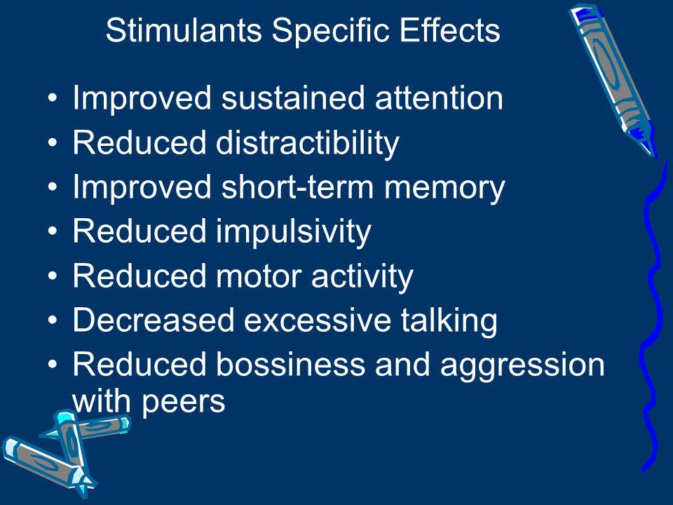 Stimulants Methylphenidate: Ritalin 10mg (3-4 hours) Ritalin LA 20/30/40 mg (6-8 hours) Concerta 18/36/54 mg(10-12 hours) Amphetamine: Dexamphetamine 10 mg (3-4 hours)
