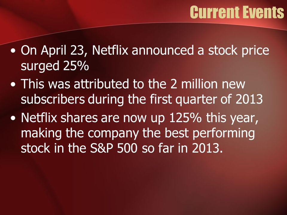 Current Events On April 23, Netflix announced a stock price surged 25% This was attributed to the 2 million new subscribers during the first quarter o