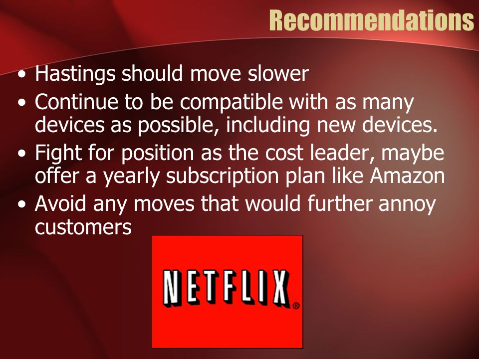 Recommendations Hastings should move slower Continue to be compatible with as many devices as possible, including new devices. Fight for position as t