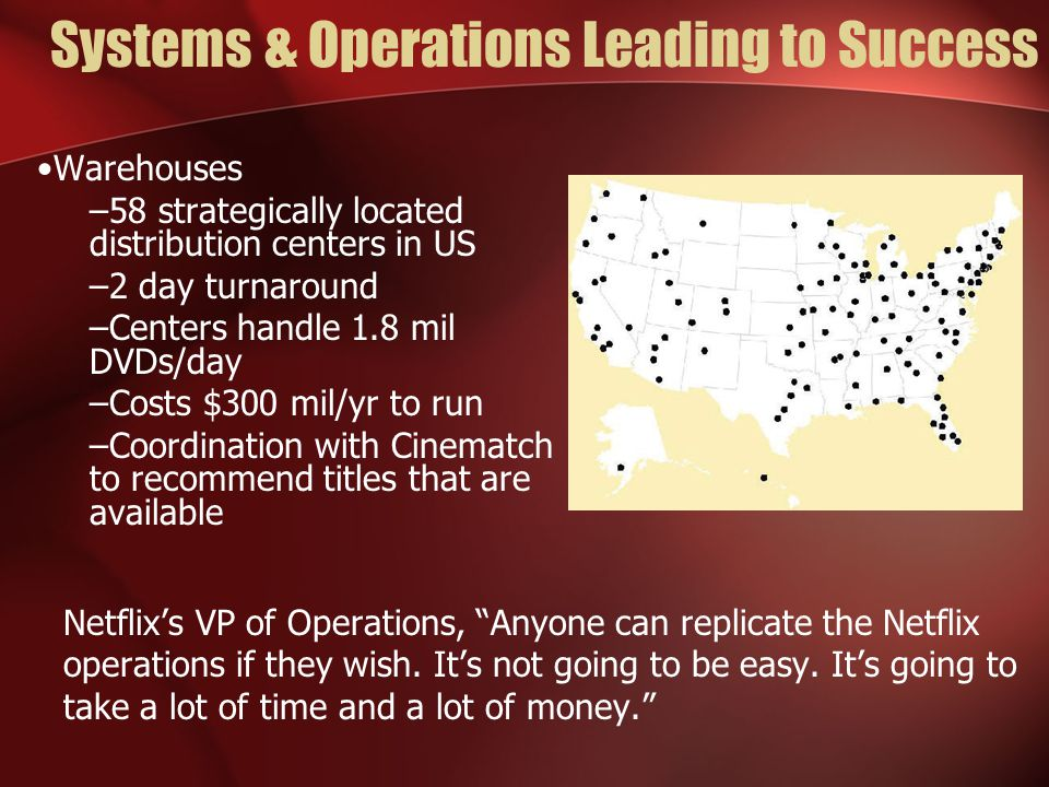 Systems & Operations Leading to Success Warehouses –58 strategically located distribution centers in US –2 day turnaround –Centers handle 1.8 mil DVDs