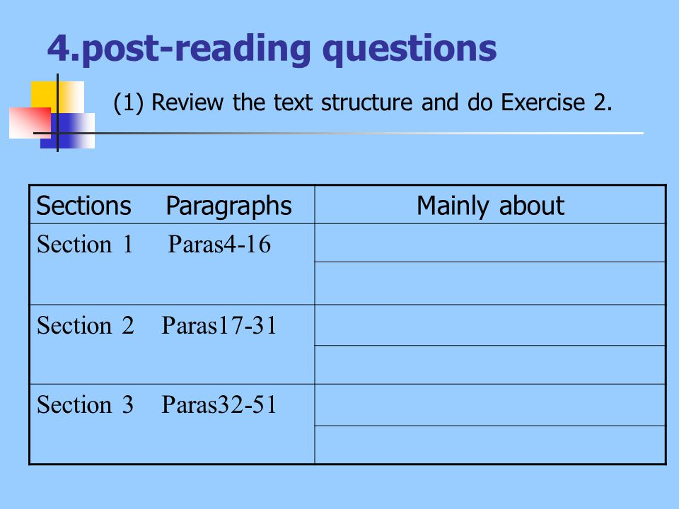 4.post-reading questions (1) Review the text structure and do Exercise 2. Sections ParagraphsMainly about Section 1 Paras4-16 Section 2 Paras17-31 Sec