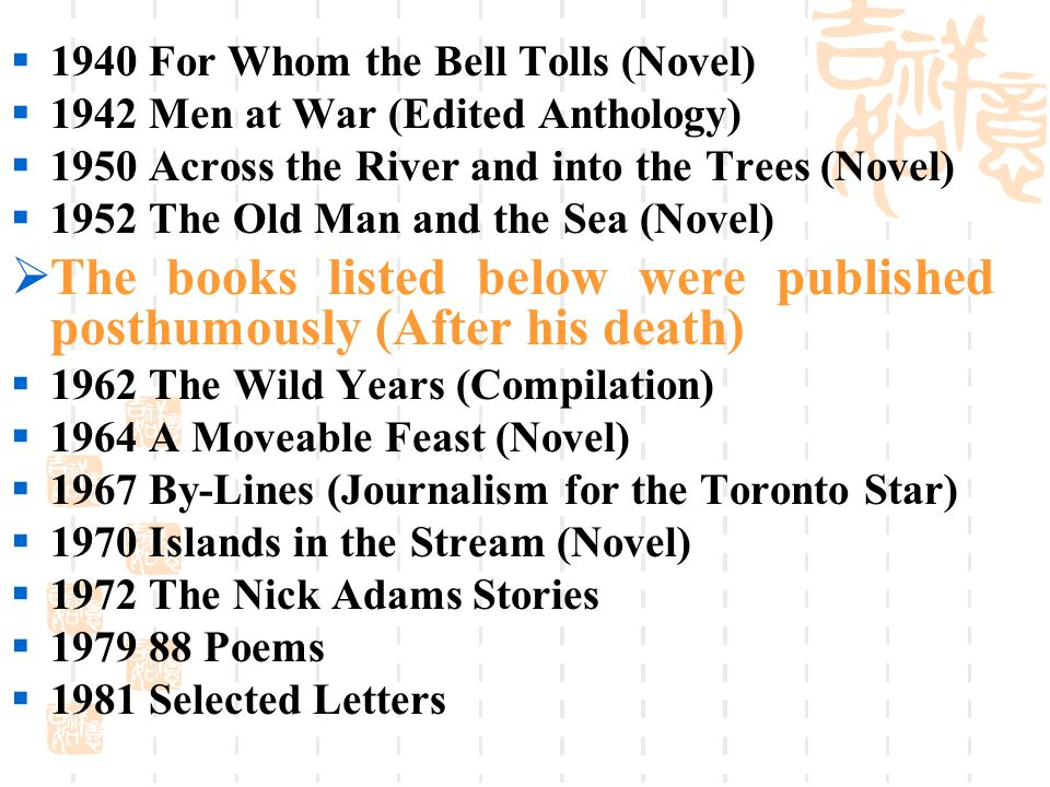  1940 For Whom the Bell Tolls (Novel)  1942 Men at War (Edited Anthology)  1950 Across the River and into the Trees (Novel)  1952 The Old Man and the Sea (Novel)  The books listed below were published posthumously (After his death)  1962 The Wild Years (Compilation)  1964 A Moveable Feast (Novel)  1967 By-Lines (Journalism for the Toronto Star)  1970 Islands in the Stream (Novel)  1972 The Nick Adams Stories  1979 88 Poems  1981 Selected Letters