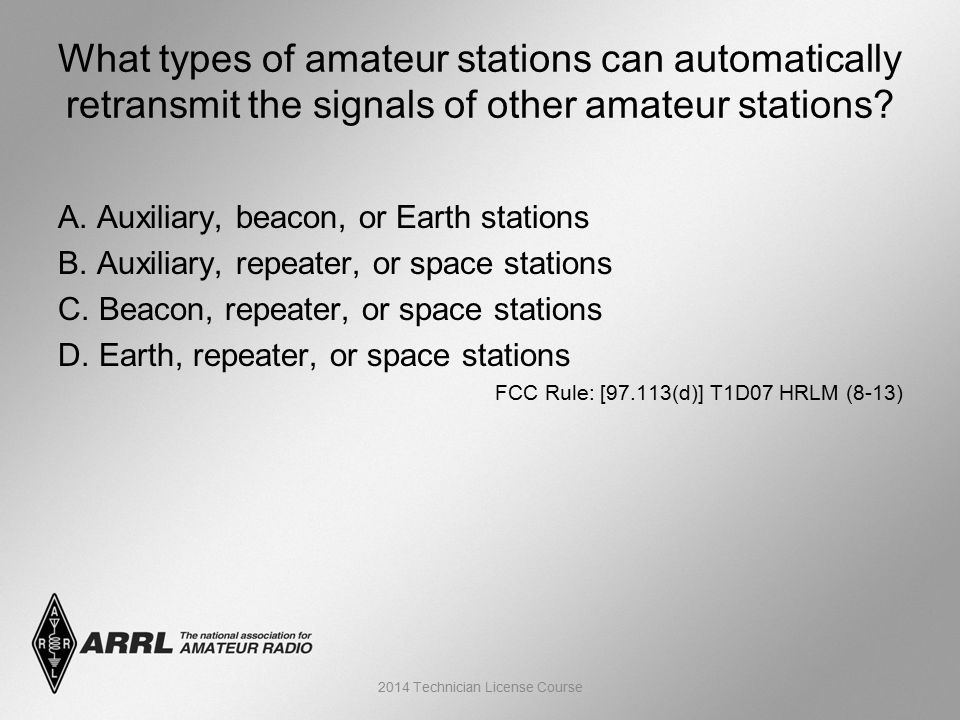 A. Auxiliary, beacon, or Earth stations B. Auxiliary, repeater, or space stations C.