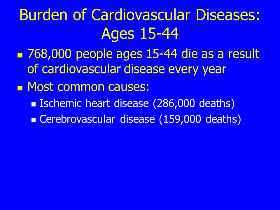 Burden of Cardiovascular Diseases: Ages 15-44 768,000 people ages 15-44 die as a result of cardiovascular disease every year Most common causes: Ischemic heart disease (286,000 deaths) Cerebrovascular disease (159,000 deaths)