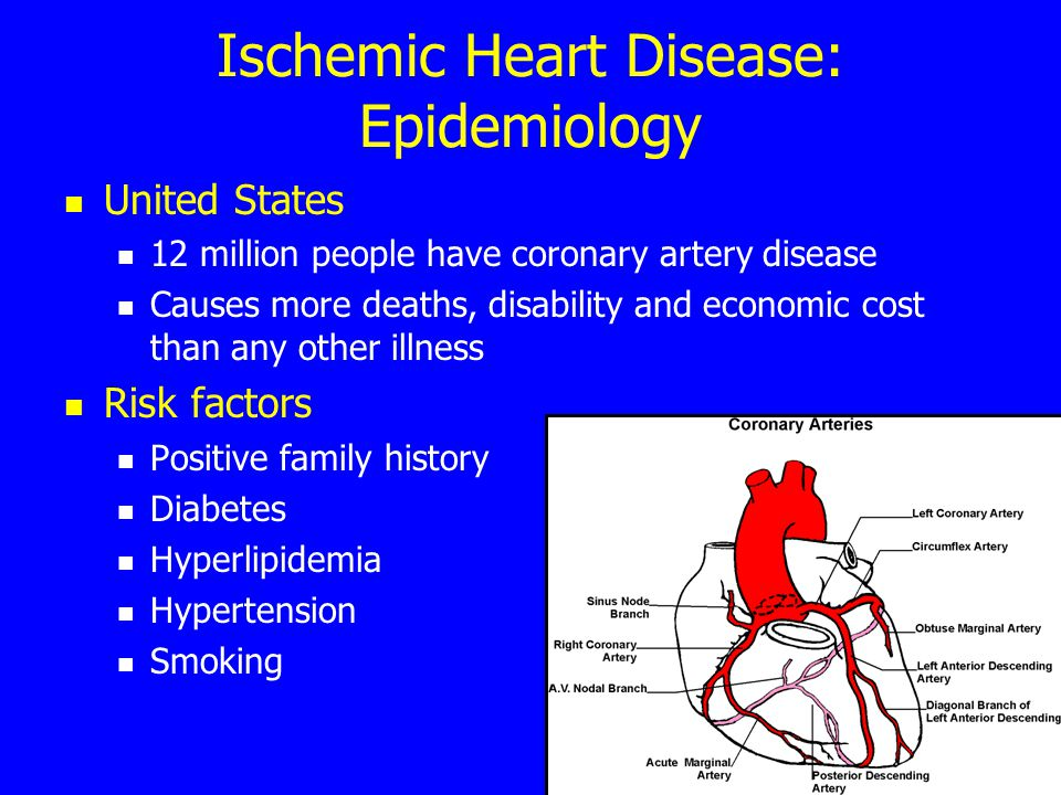 Ischemic Heart Disease: Epidemiology United States 12 million people have coronary artery disease Causes more deaths, disability and economic cost than any other illness Risk factors Positive family history Diabetes Hyperlipidemia Hypertension Smoking