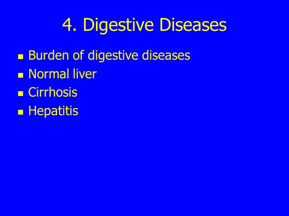 4. Digestive Diseases Burden of digestive diseases Normal liver Cirrhosis Hepatitis