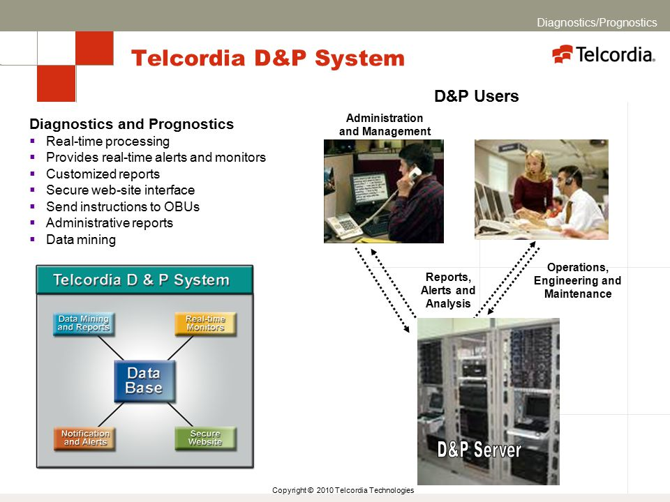 Copyright © 2010 Telcordia Technologies Telcordia D&P System Operations, Engineering and Maintenance Reports, Alerts and Analysis Diagnostics and Prog