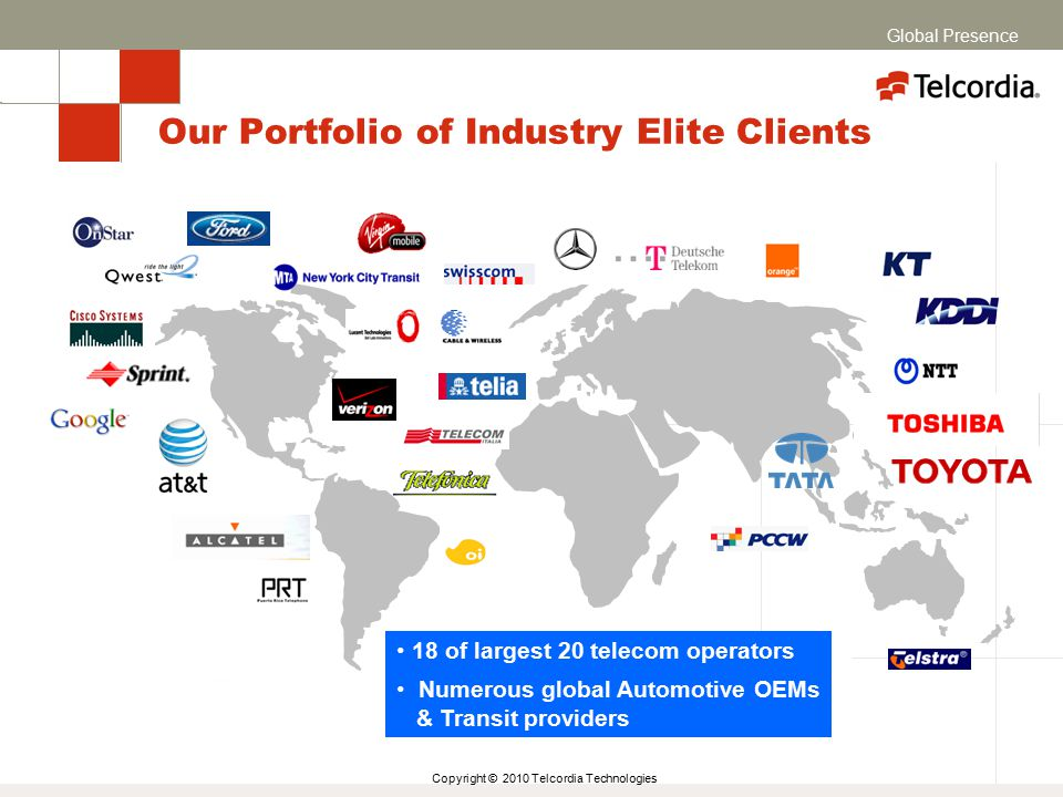 Copyright © 2010 Telcordia Technologies Our Portfolio of Industry Elite Clients 18 of largest 20 telecom operators Numerous global Automotive OEMs & Transit providers Global Presence