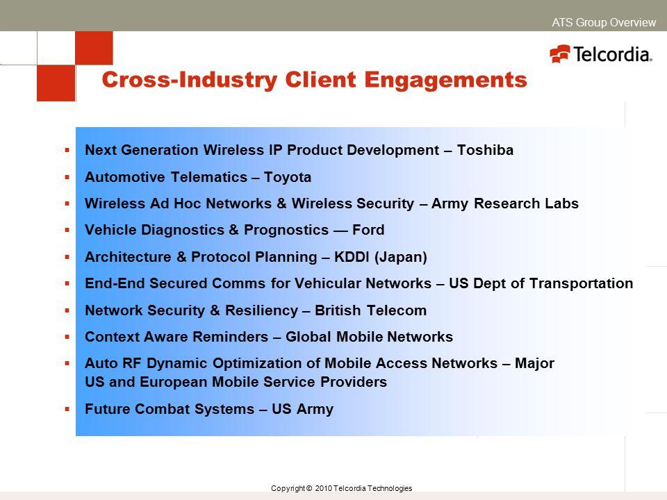Copyright © 2010 Telcordia Technologies Cross-Industry Client Engagements  Next Generation Wireless IP Product Development – Toshiba  Automotive Tel