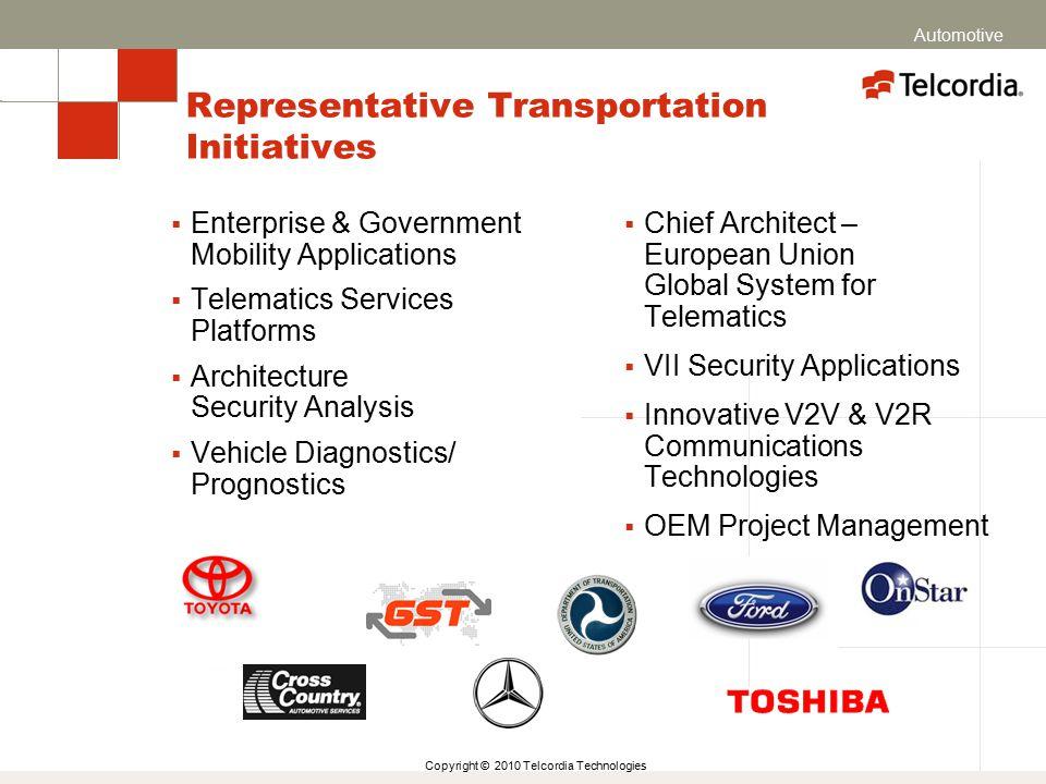 Copyright © 2010 Telcordia Technologies Representative Transportation Initiatives  Chief Architect – European Union Global System for Telematics  VI