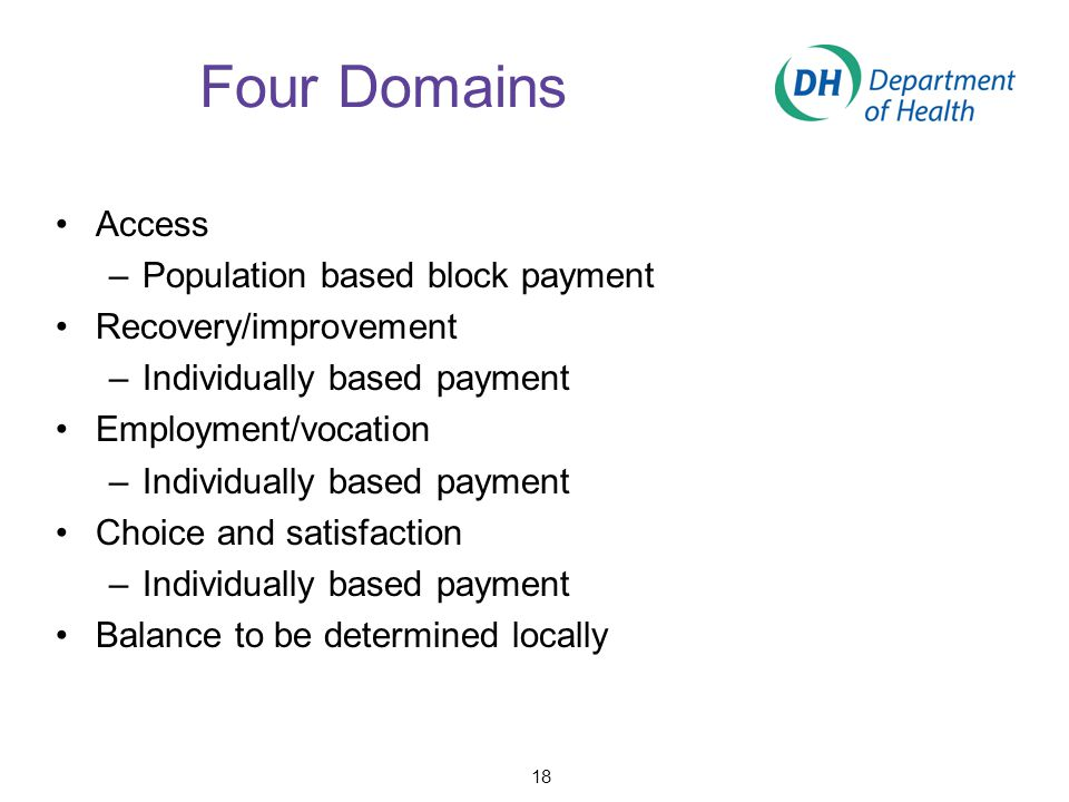 Four Domains Access –Population based block payment Recovery/improvement –Individually based payment Employment/vocation –Individually based payment C