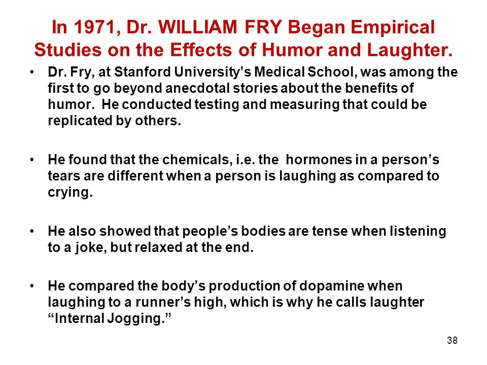 38 In 1971, Dr. WILLIAM FRY Began Empirical Studies on the Effects of Humor and Laughter. Dr. Fry, at Stanford University's Medical School, was among