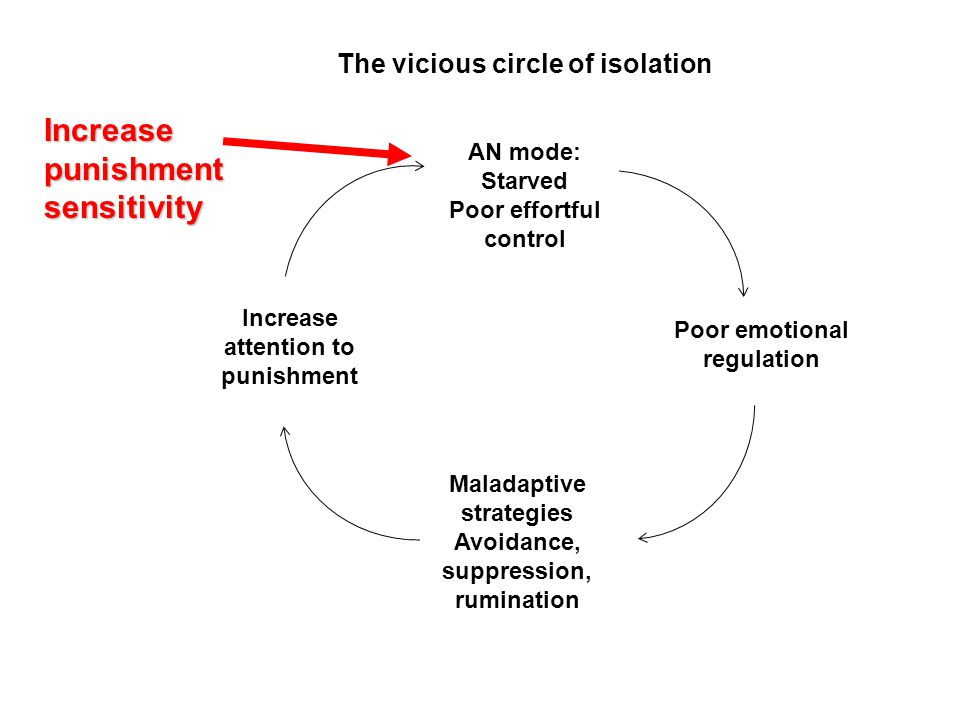 The vicious circle of isolation AN mode: Starved Poor effortful control Poor emotional regulation Maladaptive strategies Avoidance, suppression, rumin