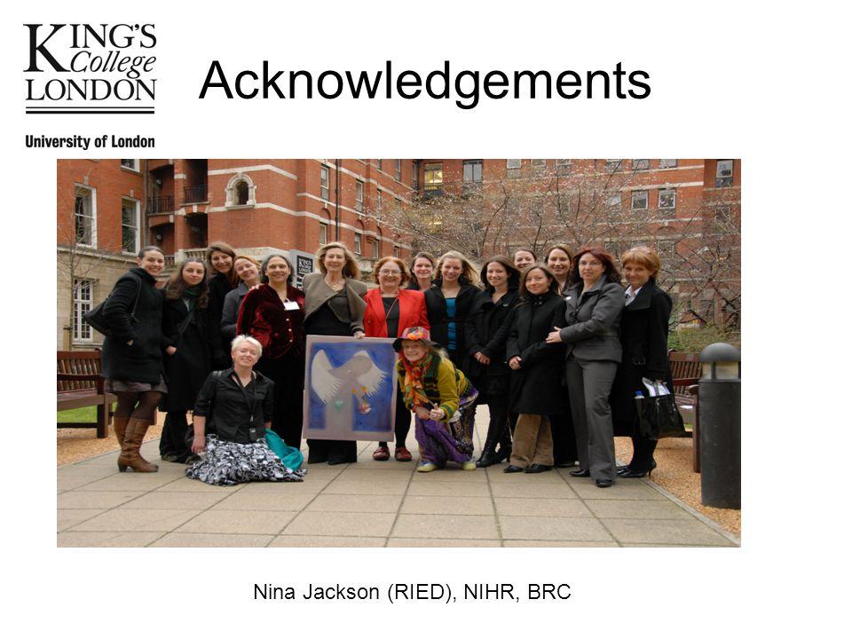 Acknowledgements Nina Jackson (RIED), NIHR, BRC