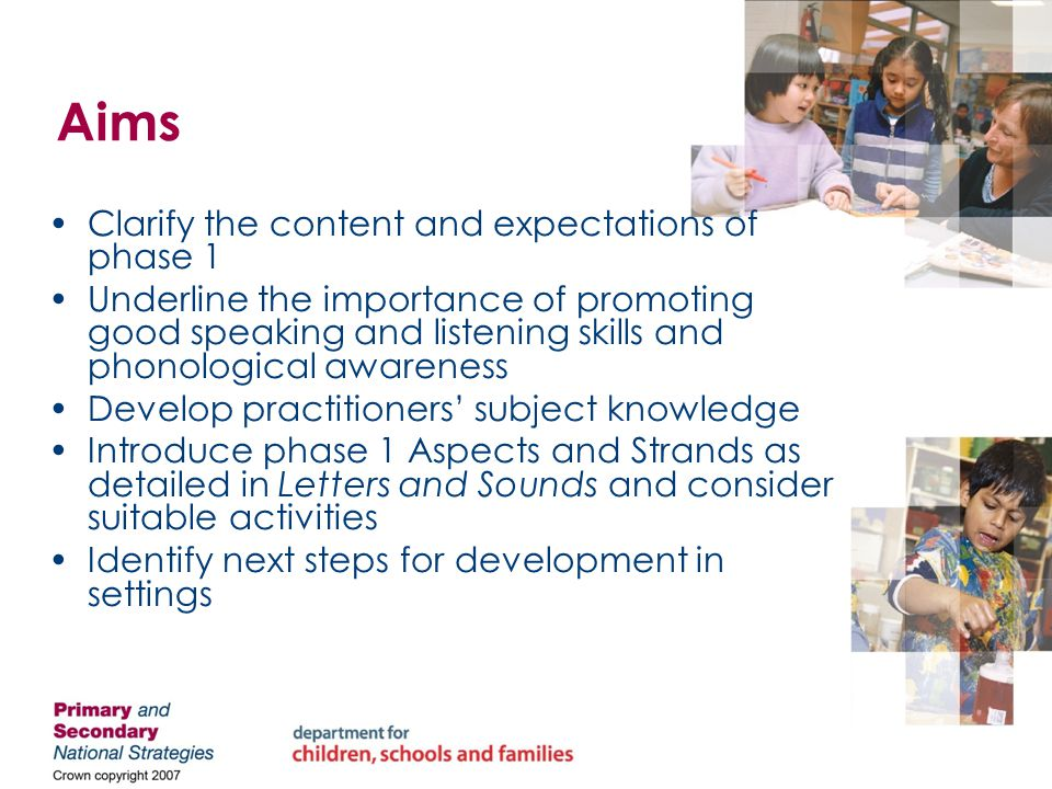 Session outline 1.The Early Years Foundation Stage (EYFS), Communication, Language and Literacy Development (CLLD) and Letters and Sounds 2.Phase 1 learning environment 3.Encouraging good listening skills 4.Planning activities 5.Speech sound discrimination and oral blending and segmenting 6.Next steps
